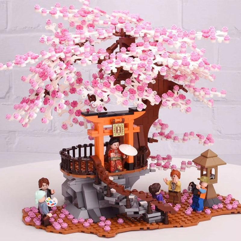City creator Japanese style street view Outdoor scenery cherry tree house Building Blocks Bricks Toys Gifts