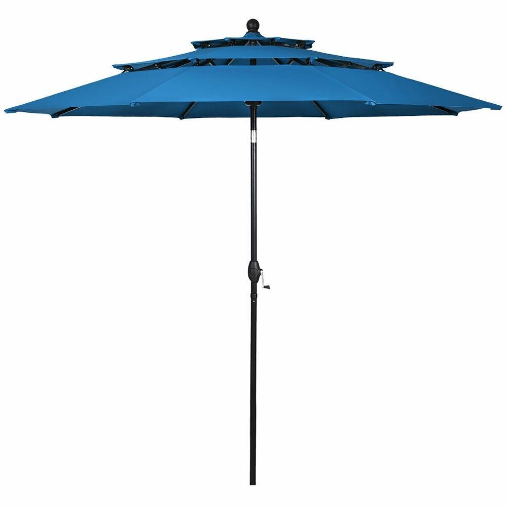 10ft 3 Tier Patio Market Umbrella Aluminum Sunshade Shelter Double Vented OP3928