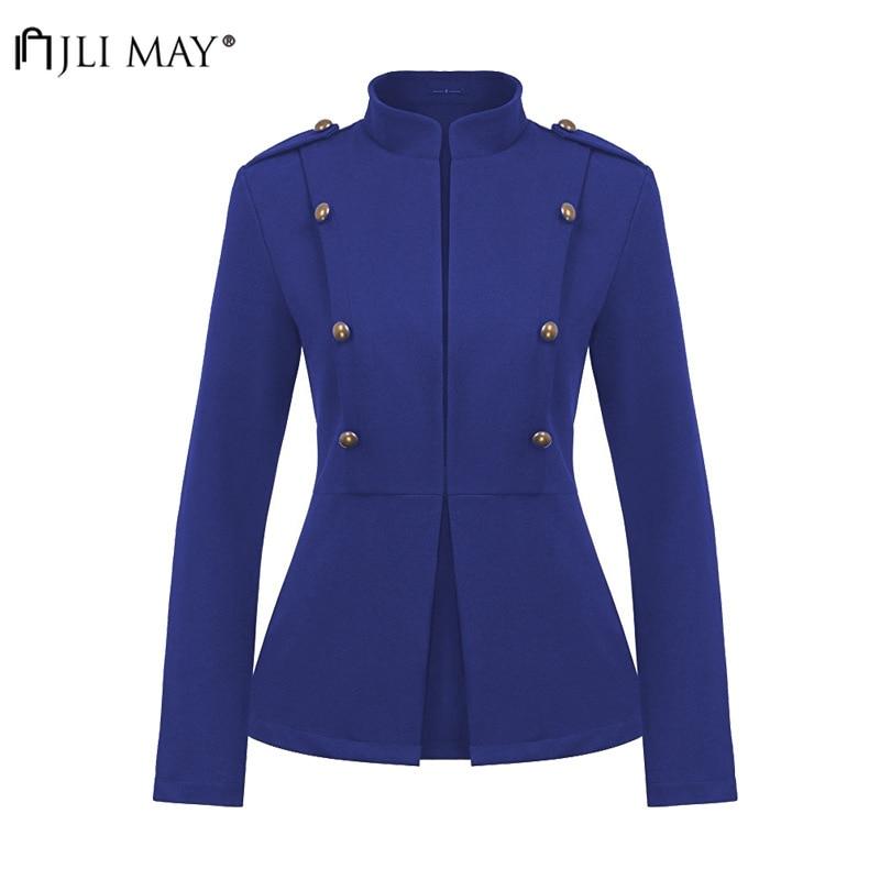 JLI MAY Vintage Formal Womens Blazers Solid Safari Style  Women Jacket Button Casual