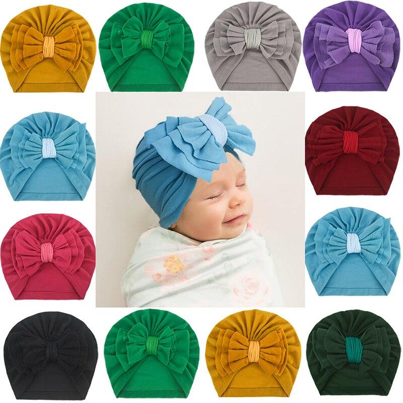 Милые Удобные шапки в Корейском стиле с бантом однотонные простые шапки Baotou популярный красивый детский пуловер теплые шапки