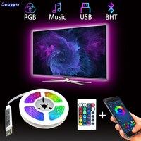Светодиодные ленты светильник Bluetooth Гибкая лампа 1 м 2 м 3 м 4 м 5 м ленты LED диод SMD5050 DC5V стол Экран ТВ фон номер светильник ing USB кабель