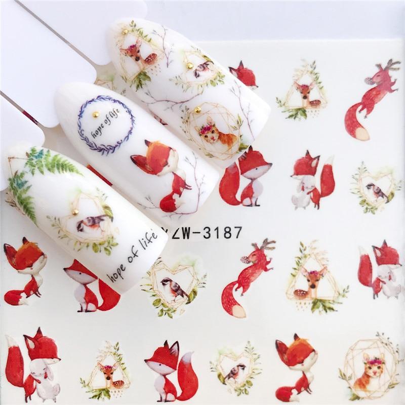 Zko 1 pc raposa/flamingo/cavalo/flor transferência de água etiqueta da arte do prego beleza decalque unhas arte decorações