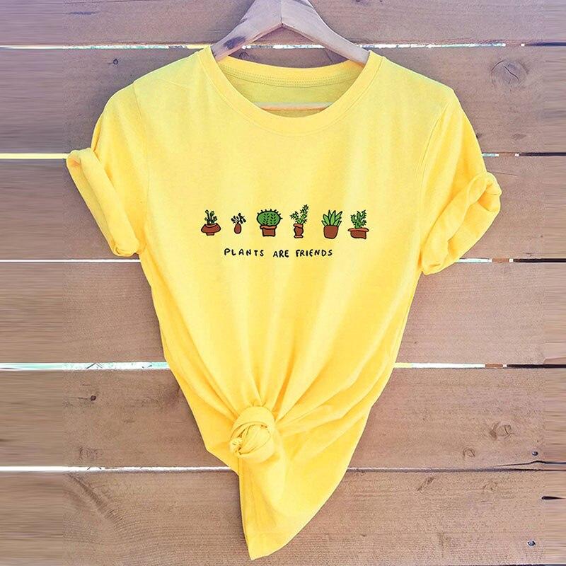 Frauen Drucken Nette T Shirt Damen Baumwolle Casual Mode Cartoon Umwelt Freundliche Hemd Tops