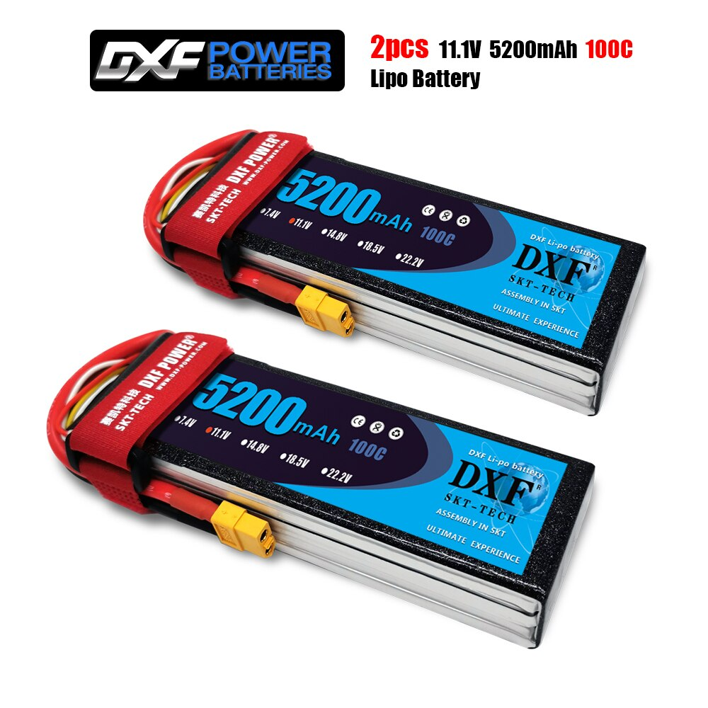2PCS DXF Lipo Battery 2S 3S 4S 6S 7.4V 11.1V 14.8V 22.2V 5200mah 100C 200C Graphene For Helicopter Drone Boat car X-maxx arrma enlarge