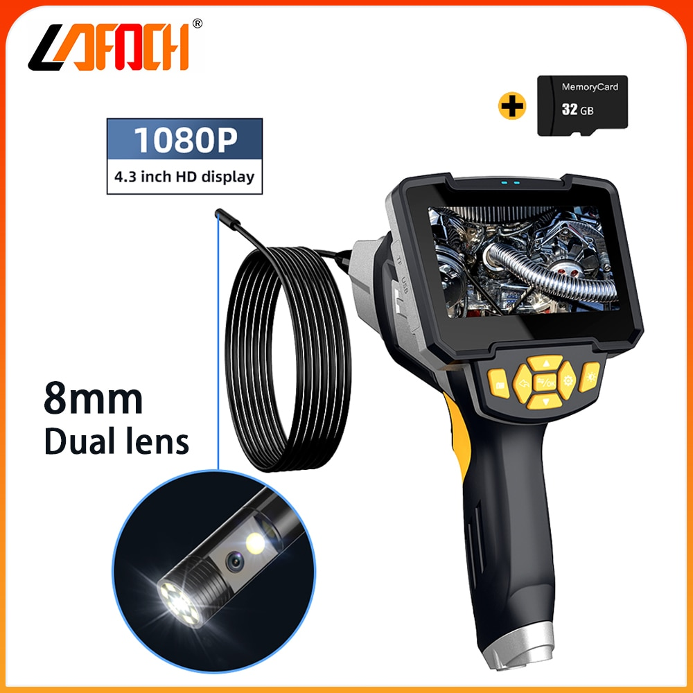 1080P Dual lens Industrial Endoscope 4.3 inch LCD Screen Mechanical inspection IP67 Waterproof Camera borescope for Engine check
