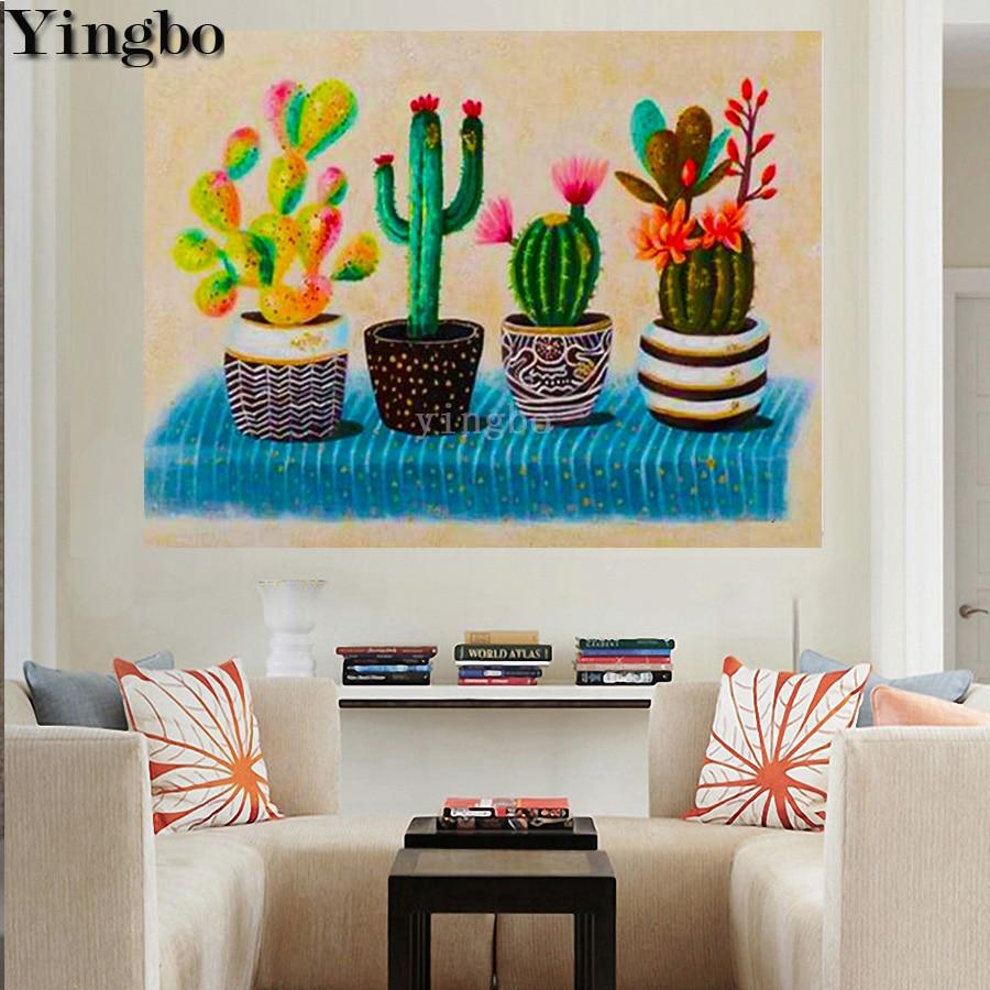 Pintura de diamante 5D, taladro redondo cuadrado completo, maceta de Cactus de color, mosaico de diamantes DIY, kit de bordado de patrón de punto de cruz
