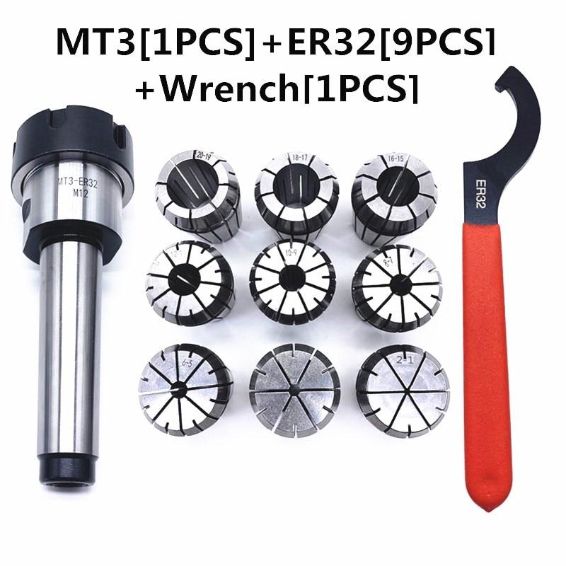 Direct Sales 2/4/6/8/10/12/16/18/20mm ER32 Spring Clamps 9Pcs Set + 1Pcs MT3 ER32  +1PCS ER32 Wrench For CNC Milling Lathe Tool