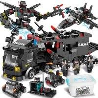 1005pcs city police station car building blocks for city swat team truck house blocks technic diy toy for boys children