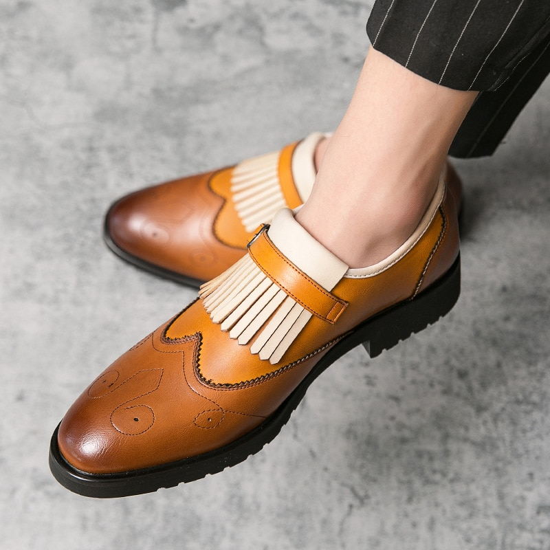 2020 Autumn and Winter New British Shoes Leather Shoes Men's Business Casual Fashion Formal Wear Bro