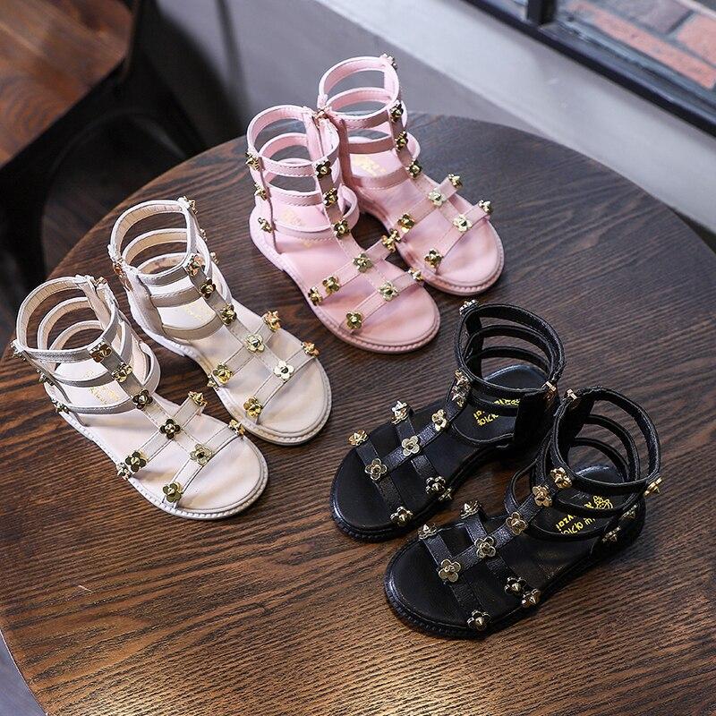Sandalias para niñas, zapatos de princesas de fondo suave, novedad de verano, zapatos romanos para niños, zapatos de playa de princesa bebé con punta abierta