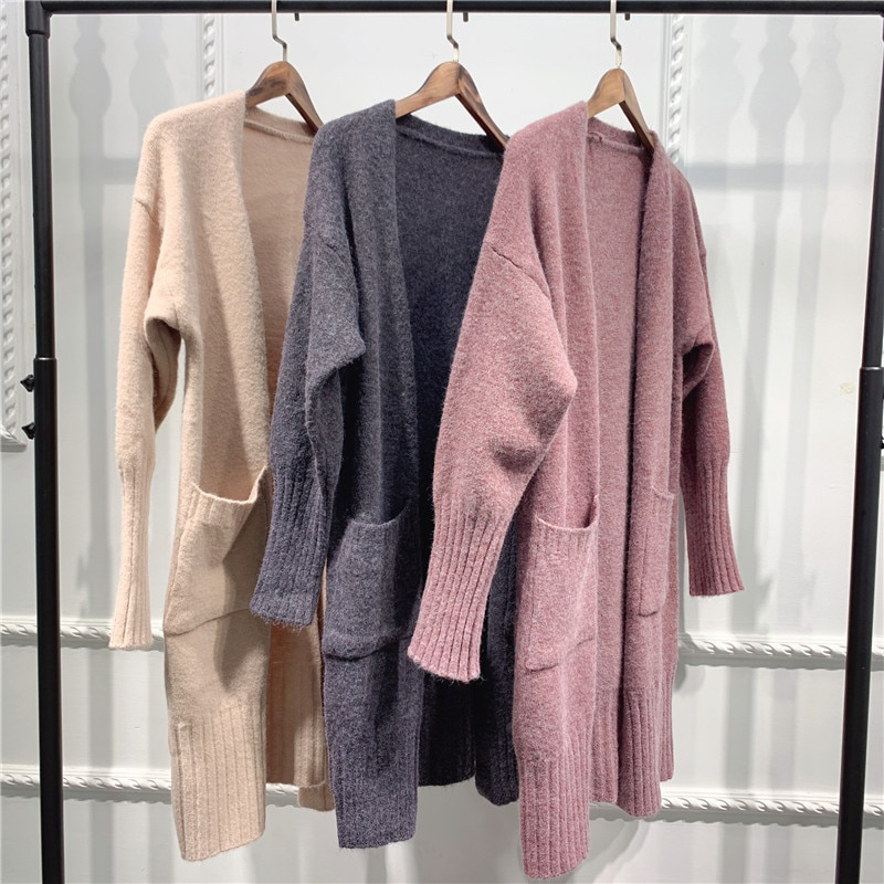 Fall Winter Women Long Fuzzy Knit Cardigans Sweaters Drop Shoulder Dual Pockets Loose Knitted Jacket Coat Outwear Solid Color enlarge
