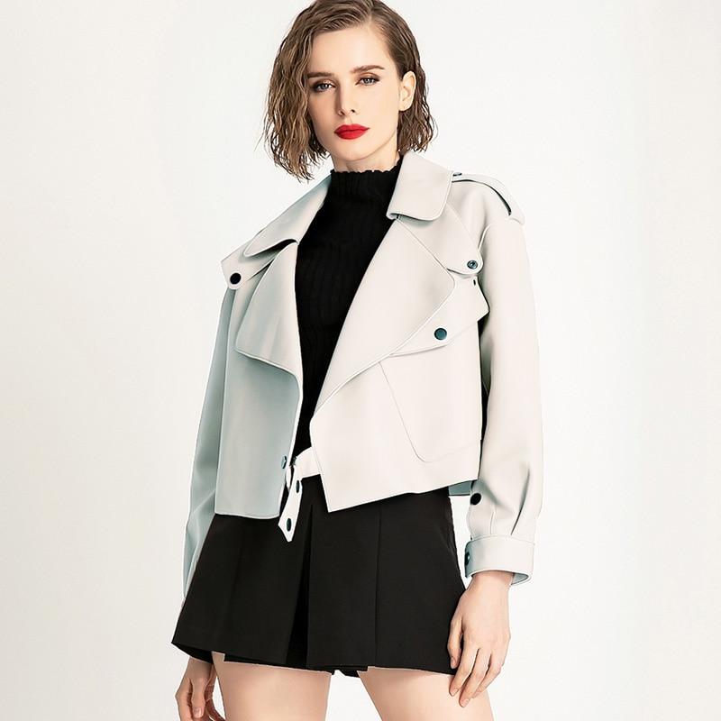 Куртка женская из искусственной кожи, свободная мягкая винтажная Байкерская верхняя одежда из искусственной кожи, уличная одежда в стиле п... одежда из кожи stuart hughes 2169