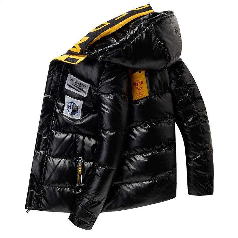 Мужская модная теплая короткая блестящая хлопковая куртка с капюшоном, утепленное пальто на осень и зиму, мужская куртка с капюшоном