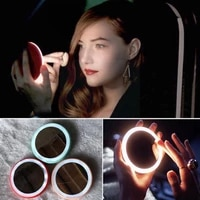 1pcs portable handheld mini install button batteries mirror tools cosmetic with makeup makeup light for wear cute led beaut p8j8