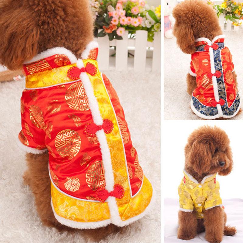 Nouvel an chinois Tang Costume petit chien vêtements veste gilet pull rouge Festival Costume Teddy manteau vêtements pour animaux de compagnie pour chiots moyens