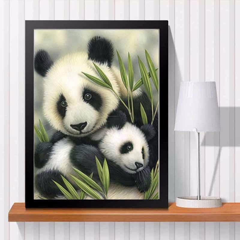 Nuevo panda amor pintura de diamantes para labores de bricolaje kit de 3D mano pintura decorativa Cruz puntada plantas bordado con ornamentación con cuentas