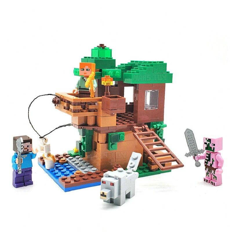 Pequena árvore casa conjunto bloco de construção com alex steve figuras ação compatível minecrafinglys meu mundo tijolos conjunto para brinquedos presente