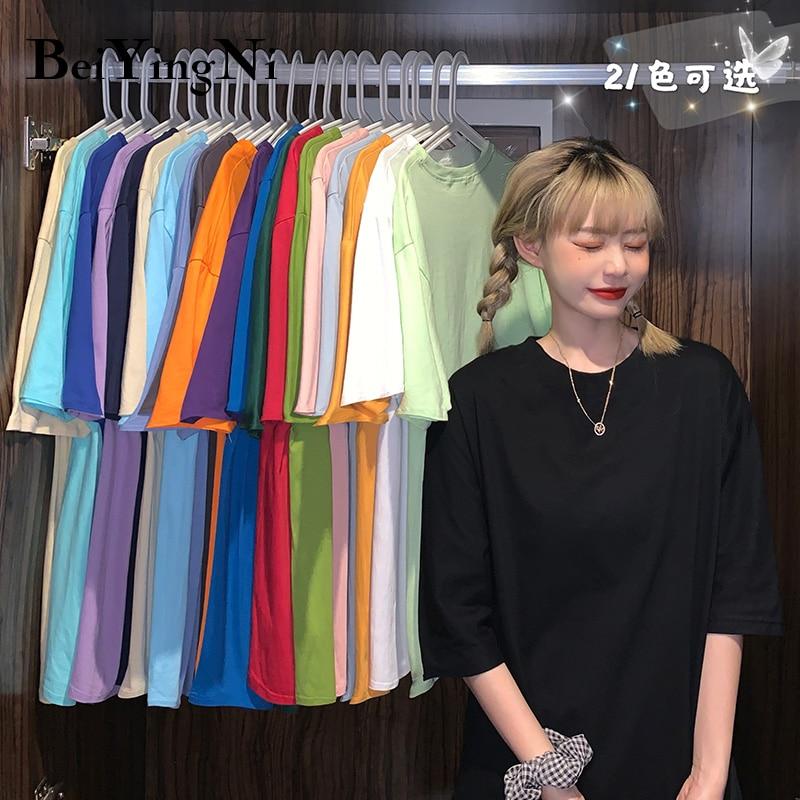 Beiyingni, camiseta Harajuku de algodón para mujer, Camiseta holgada informal coreana Hipster para mujer, camisetas Vintage básicas de verano 2020, camisetas para mujer