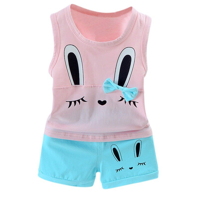 Conjuntos de ropa de bebé recién nacido de verano traje de moda Camiseta corta de zorro + pantalones traje de bebé ropa de deporte