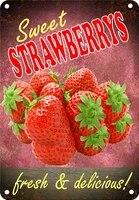 Affiche Vintage en etain avec fruits frais et fraises  affiche en metal retro 8x12 pouces  decoration murale pour la maison  la cuisine  le bureau  le jardin et le Garage