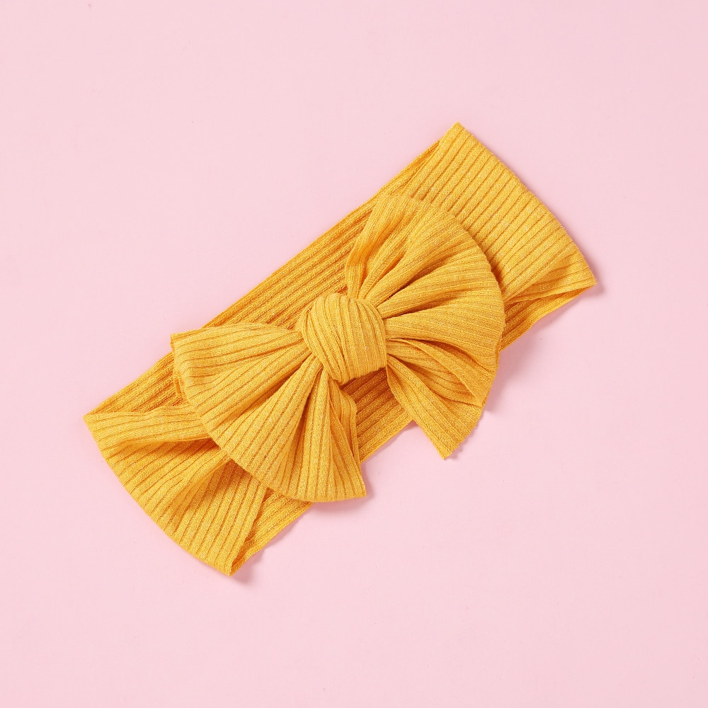 Solid Color Bowknot Headwear Baby Headband Elastic Turban Hairband Baby Girl Headbands Hair Bands for Baby Girl Hair Accessories