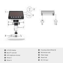 "4.3"" LCD HD 1080P Digital Microscope 50X-1000X Magnification Camera Video Recorder for Mac Windows"