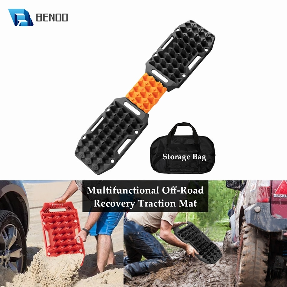 Multifunctional Recovery Traction Mat for 4X4 ATV SUV Off-Road Boards with Jack Lift Base Mud Sand Snow Emergency Tire Ladders