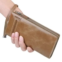 williampolo full grain leather long wallet for men fashion vintage credit card holder coin purses business clutch cowhide 17318