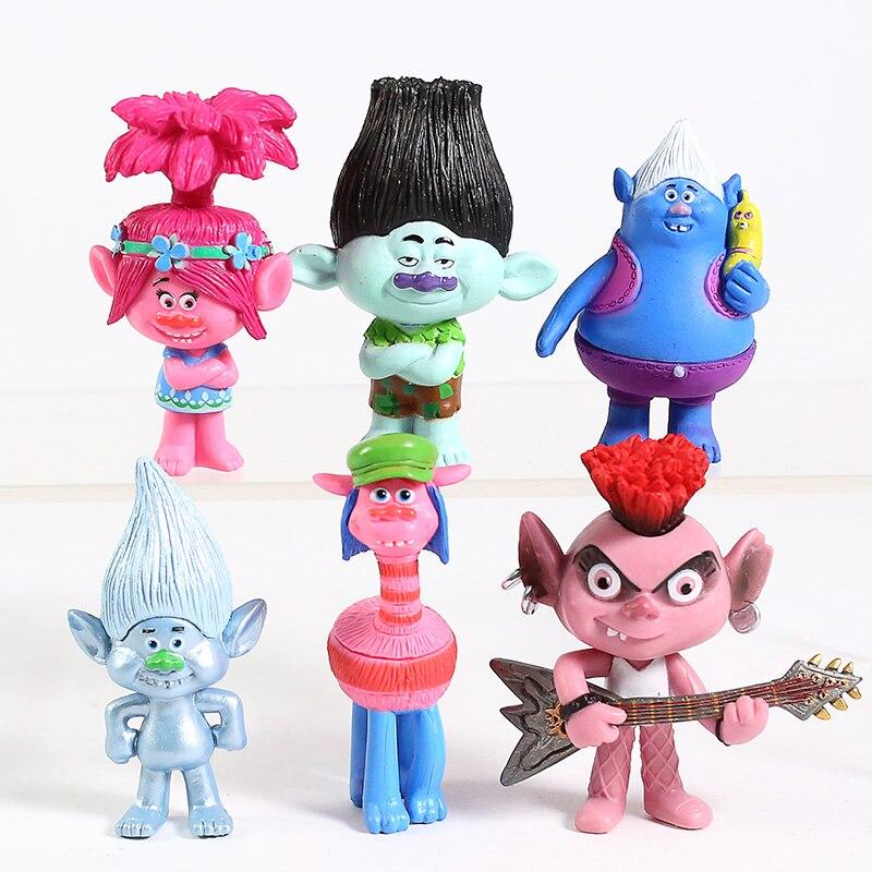 Los Trolls World Tour Bara Poppy rama diamante Príncipe D Biggie pequeña Mini figuras de PVC de juguete 6 unids/set