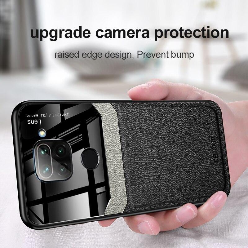 Protector de lente de cámara transparente para Xiaomi Redmi Note9 Pro 9s Max Note 8 Pro Note7 8T Mi Note10 funda de silicona de cuero Retro