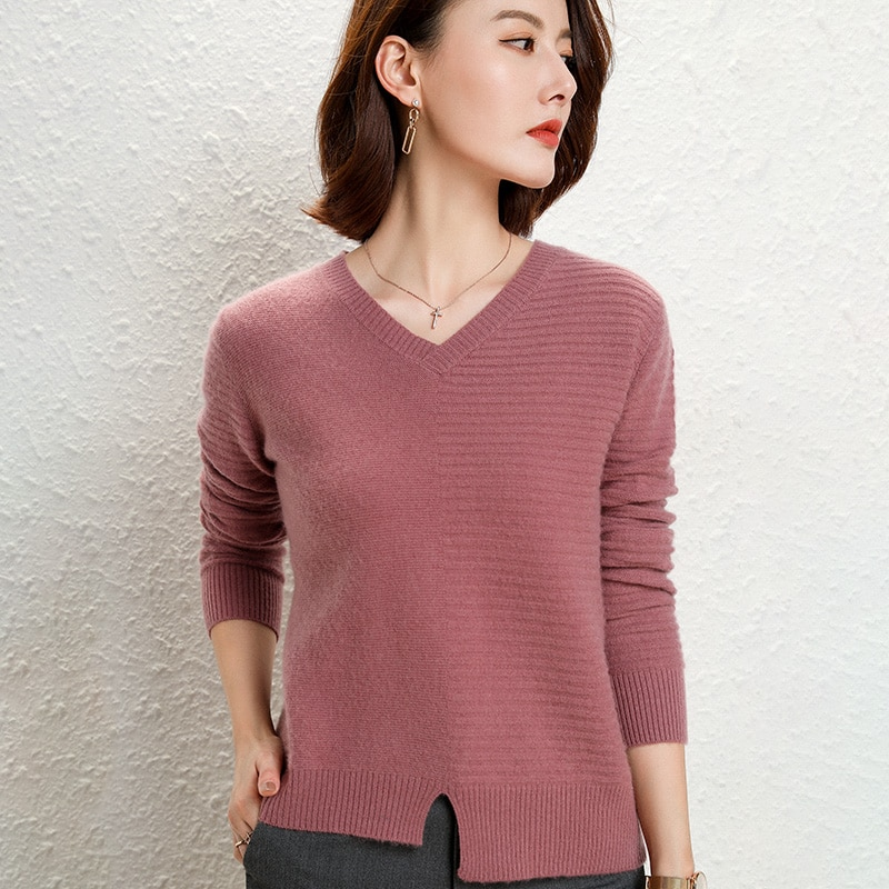 adishree 2021 woman winter 100% Cashmere sweaters and autumn knitted Pullovers High Quality Warm Female thickening V-neck enlarge
