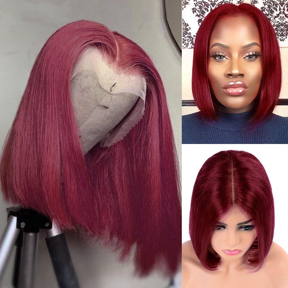 Short Bob Wigs 99J Straight Lace Front Human Hair Wigs Pre Plucked Peruvian Bob Wigs 180 Density