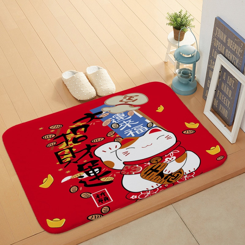 Japonês-estilo gato sorte coral fugir esteiras quarto sala de estar tapete da porta do banheiro antiderrapante