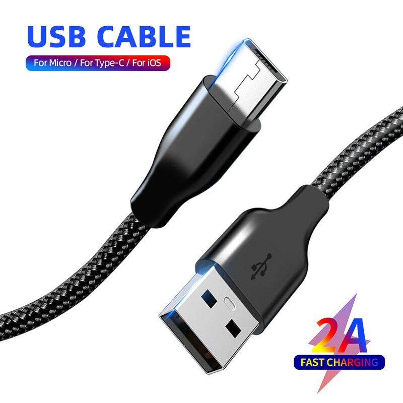 Cable USB 2A para iPhone 8 X XS, Cable Micro de carga rápida para Samsung tipo C, Cable de sincronización de datos para Huawei teléfono Xiaomi, Cable cargador