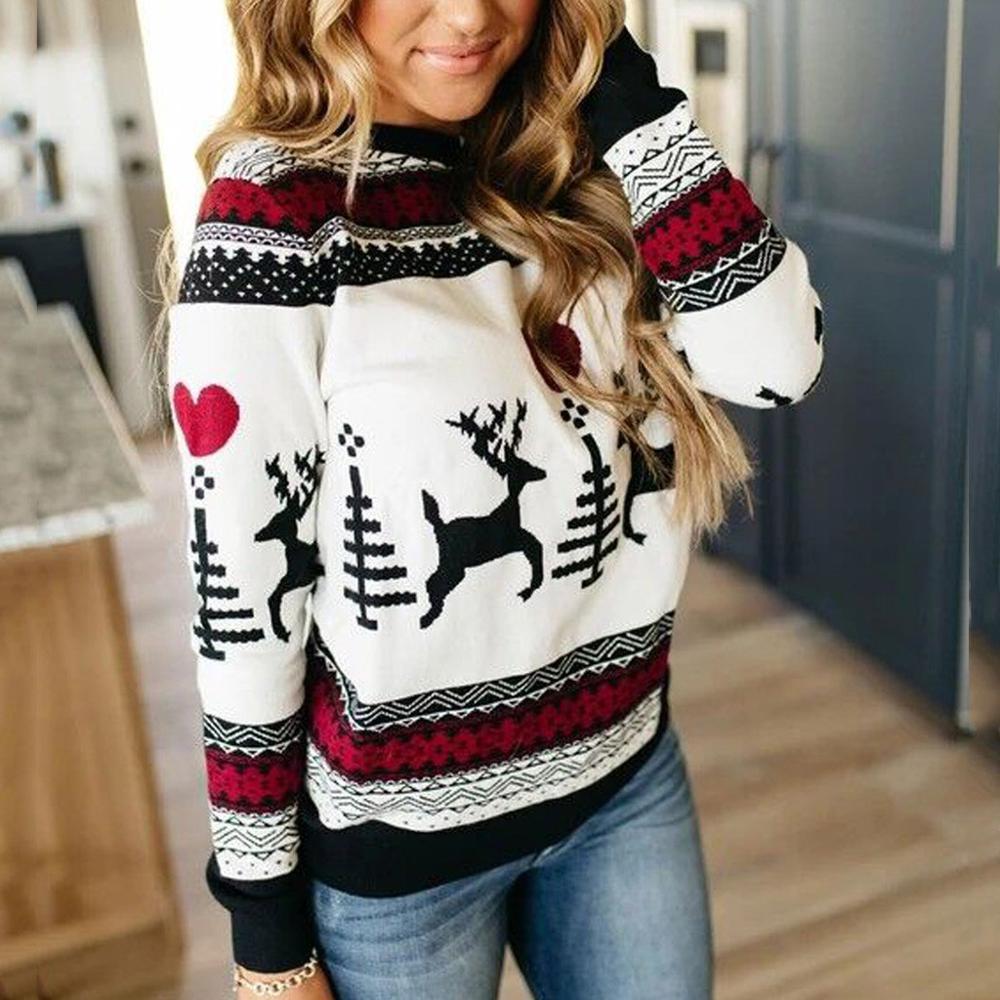 2020 новый год, Женский Рождественский свитер, Модный женский джемпер, свитер с длинным рукавом, Рождественский пуловер с принтом оленя, топы, свитера