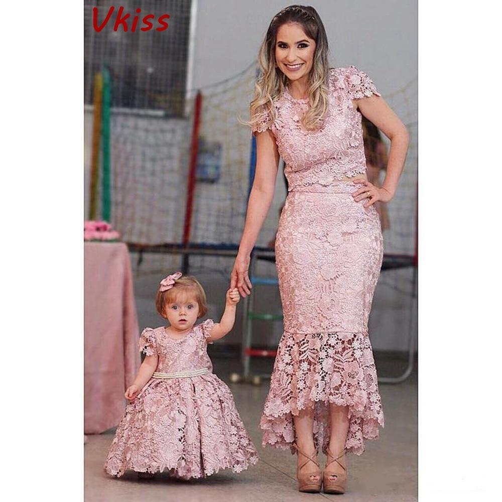 Mãe filha princesa rosa renda shealth vestido vestidos da menina de flor mangas compridas mãe de vestidos de noiva com arco grande