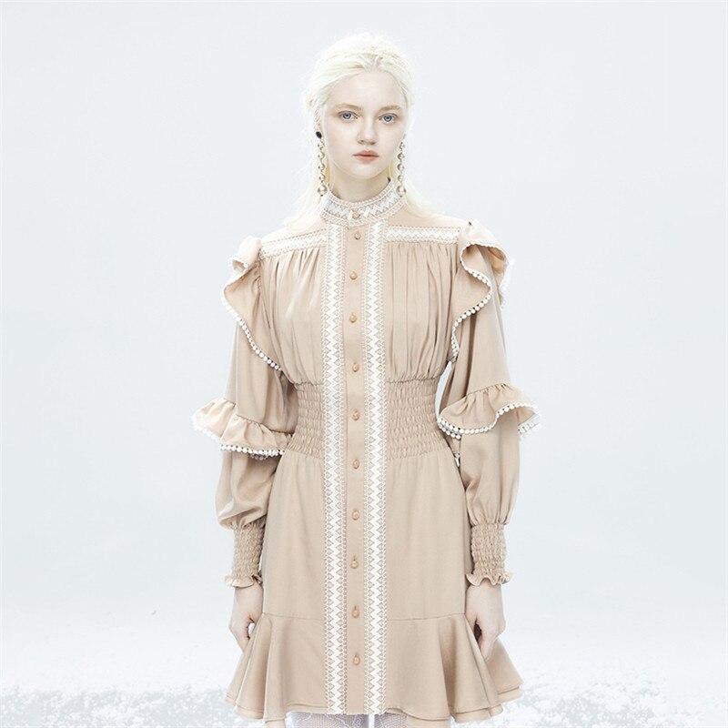 2021 جديد ريترو قصر نمط ruffled مزاجه فستان المرأة موضة مرونة الخصر ضئيلة طويلة الأكمام واحدة الصدر فستان جنية