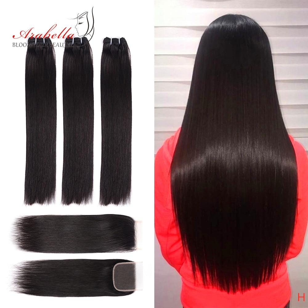 Super Double Drawn Hair Bundles With 4X4 Transparent Lace Closure Pre Plucked Arabella Virgin Hair Weave Bundles With Closure