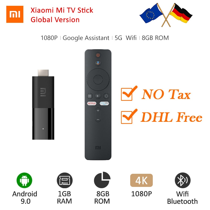 Global Xiaomi Mi TV Stick Android TV 2K HDR 9,0 Quad-core Dolby DTS HD Dual decodificación 1GB RAM 8GB ROM Google asistente Netflix