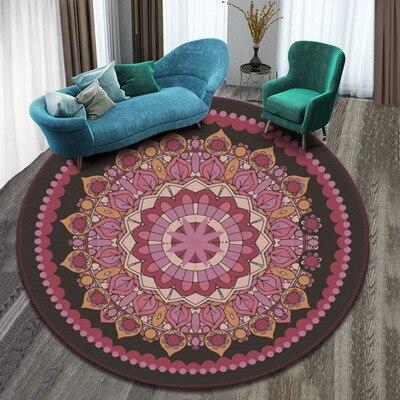 Indian Mandala Short Plush Mandala Carpet Round Shape Carpets for Living Room Bedroom Yoga Mat Seat Cushion Anti-slip Water Abs