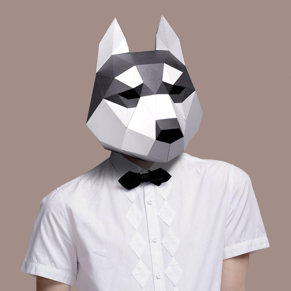 Бумажная маска 3d Хаски костюм косплей Сделай Сам Бумага Ремесло Маска модели Рождество Хэллоуин выпускной вечер Gi