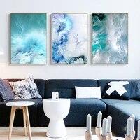 Tableau modulaire abstrait vagues bleues  decor de maison  nuage  Art mural nordique  impression moderne  peinture sur toile  decor de vie  affiche de mode