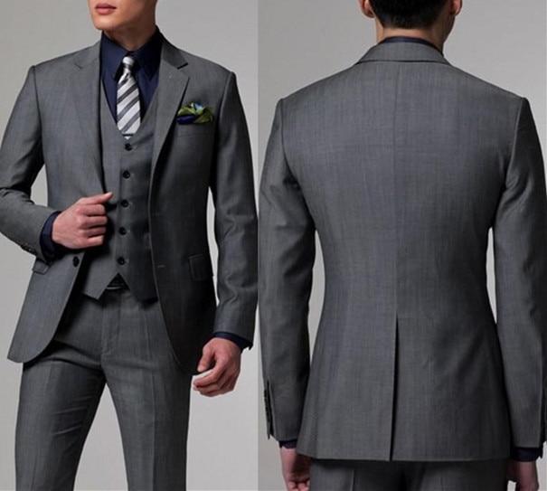 2019 élégant flambant neuf garçons dhonneur gris foncé marié Tuxedos châle revers hommes costumes pour mariage meilleur homme Blazer (veste + pantalon + gilet)