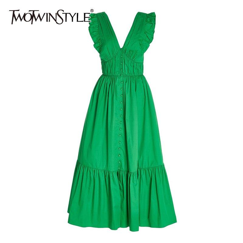TWOTWINSTYLE الأبيض فستان أنيق للنساء الخامس الرقبة قصيرة الأكمام عالية الخصر الدانتيل يصل Bowknot المرقعة فساتين مُزينة بكشكشة الصيف الإناث