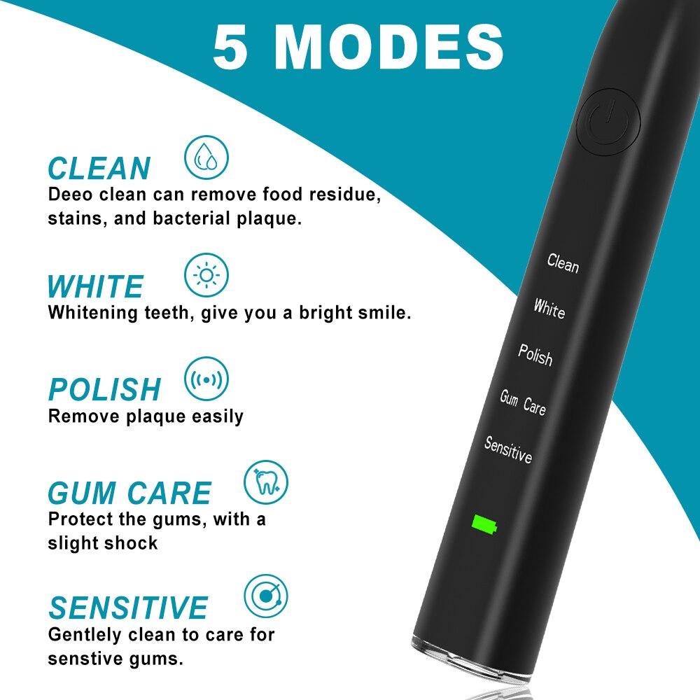 2021 Nieuwe Sonic Elektrische Tandenborstel IPX7 Waterdichte Draadloze Oplaadbare Tandenborstel Mondhygiëne Zorg Orale Reiniging enlarge