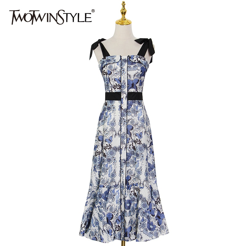 TWOTWINSTYLE فستان طباعة عادية للنساء ساحة طوق أكمام عالية الخصر ضرب اللون تونك فساتين متوسطة الطول الإناث الصيف أنيق