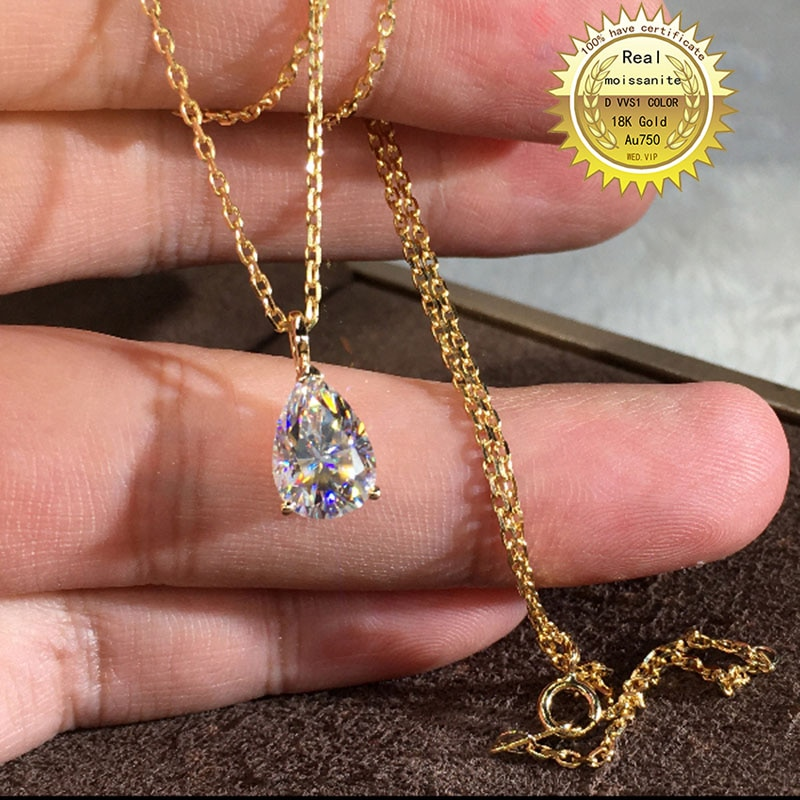 عقد من الذهب عيار 18 قيراط Au750 مرصع بالألماس المويسانتي 1 قيراط ولون DVVS مع شهادة وطنية 008