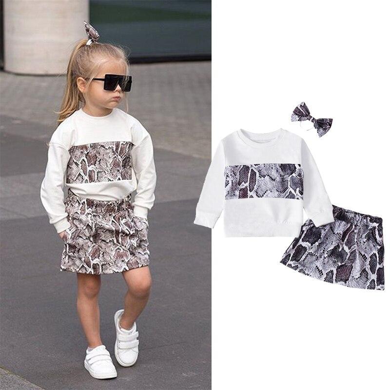 Neue Mode Kinder Set 1-6Y Kinder Mädchen Schlangenprints Outfits Lose Pullover + Mini Rock + Headwear Kleidung für Frühling herbst 2021