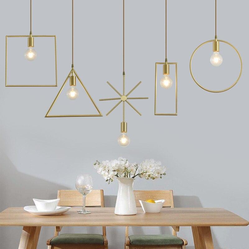 Светодиодная Подвесная лампа Hmoe в золотой рамке, современный комнатный светильник для столовой, кухни, люстры, гостиной, спальни, Подвесная ...
