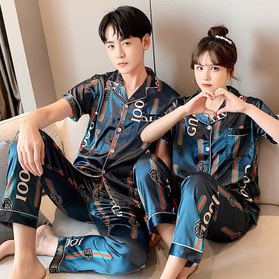 New summer ice silk simple couple pajamas Set & silk short sleeve long pants alphabet pattern sleepwear & casual Nightwear Set